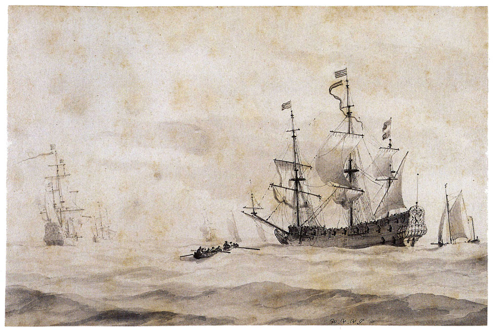 Willem van de Velde the Younger - A Dutch warship hove-to in a choppy sea