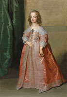 Anthony van Dyck Portrait of Princess Mary (1631-1660), daughter of King Charles I of England, full-length, in a pink dress decorated with silver embroidery and ribbons