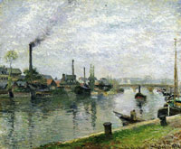 Camille Pissarro View of Île Lacroix and the Pont Corneille at Rouen, Bright Overcast Sky