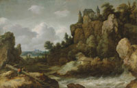 Allart van Everdingen An extensive landscape with a waterfall, with a hilltop castle and a village beyond