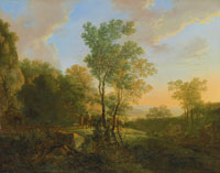 Jan Both An Italianate wooded landscape with travellers