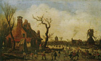 Jan van Goyen Landscape with People on the Ice