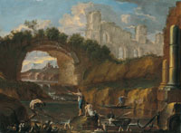 Alessandro Magnasco and Clemente Spera (?) - A river landscape with fishermen among ruins