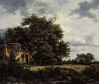 Jacob van Ruisdael Cottage under Trees near a Grainfield