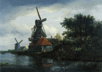 Jacob van Ruisdael - Two Windmills on the Bank of a River