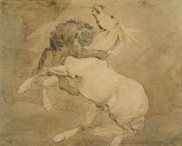 Théodore Géricault Lion Attacking a Horse