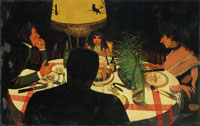 Felix Vallotton Dinner, by Lamplight