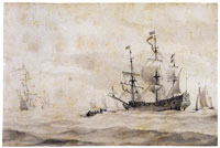 Willem van de Velde the Younger A Dutch warship hove-to in a choppy sea