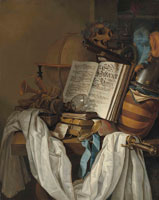 Vincent Laurensz. van der Vinne I  - A globe, instruments, books, a broken upturned roemer, a skull and weapons on a partially draped table